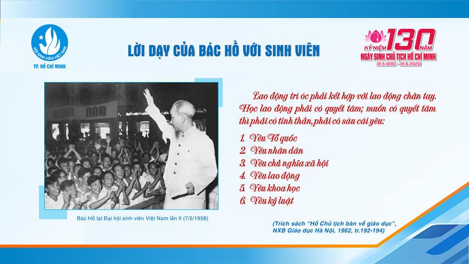 Những lời dạy của Bác Hồ đối với sinh viên tại Đại hội  Sinh viên Việt Nam lần thứ hai (07/5/1958)