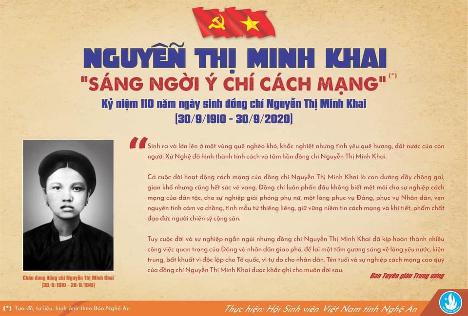 KỶ NIỆM 110 NĂM NGÀY SINH ĐỒNG CHÍ NGUYỄN THỊ MINH KHAI (30/9/1910 – 30/9/2020)
